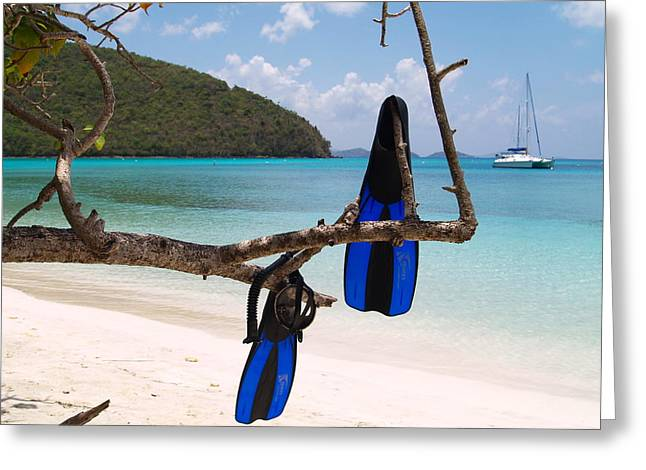 A Maho Bay Snorkel Greeting Card by Richard Mansfield