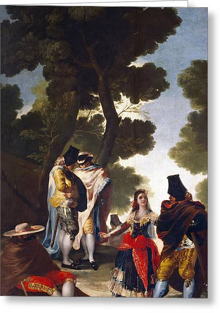 A Maja And Gallants Greeting Card by Goya