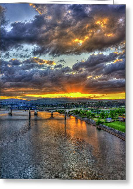 A Majestic View 2 Chattanooga Bridges Sunset Art Greeting Card by Reid Callaway