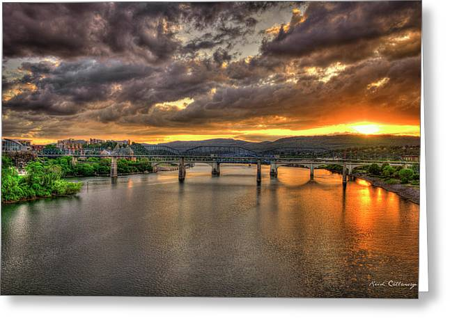 A Majestic View Chattanooga Bridges Sunset Art Greeting Card by Reid Callaway
