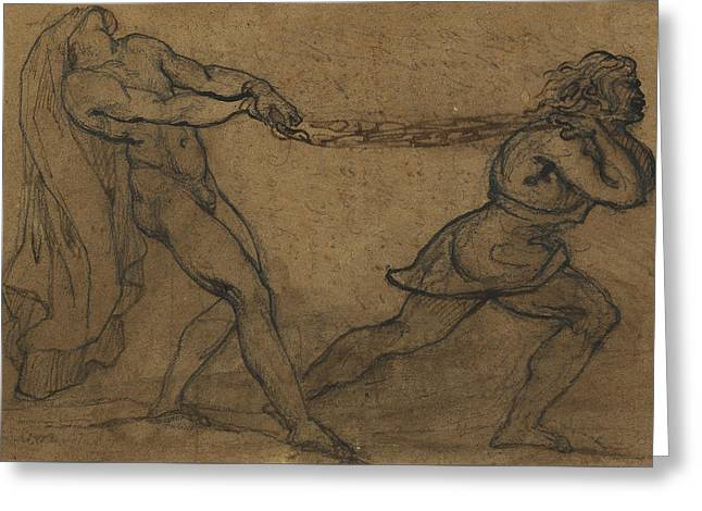 A Male Nude Pulled By Another Male Greeting Card by Theodore Gericault