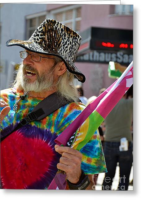 March Greeting Cards - A Male Protester During  Anti-Blilderberg March in Tirol 2015 Greeting Card by Elzbieta Fazel