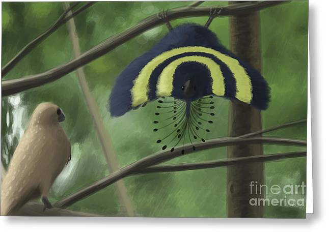 Love The Animal Greeting Cards - A Male Xiaotingia Zhengi Bird Tries Greeting Card by Michele Dessi