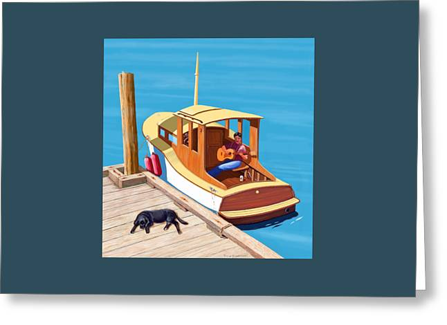 Vintage Boat Greeting Cards - A man a dog and an old boat Greeting Card by Gary Giacomelli