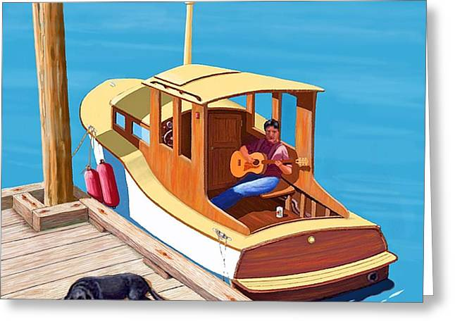 Wooden Boat Greeting Cards - A man a dog and an old boat Greeting Card by Gary Giacomelli