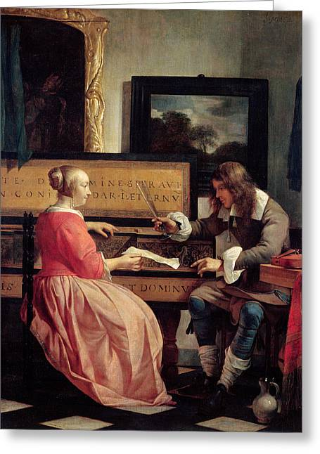 Man And Woman Greeting Cards - A Man and a Woman Seated by a Virginal Greeting Card by Gabriel Metsu