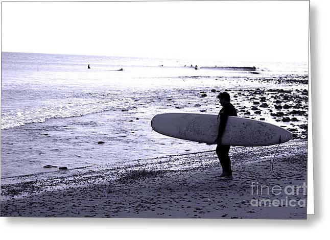 Long Boards Greeting Cards - A man and his board Greeting Card by Micah May