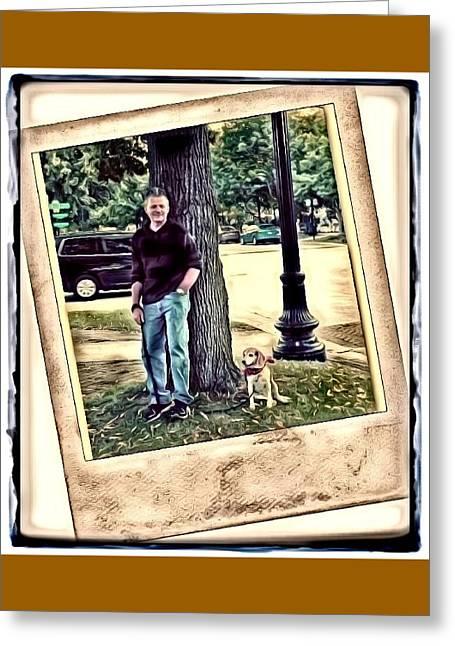 Streetlight Greeting Cards - A Man and HIs Dog Greeting Card by Deborah Kunesh