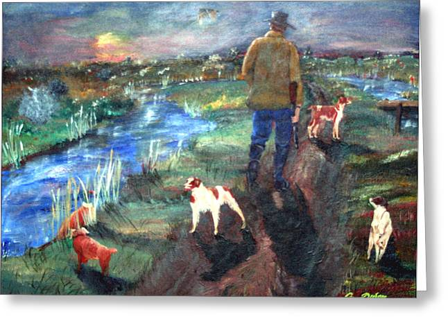 Spaniel Greeting Cards - A Man and his dogs Greeting Card by Gail Daley