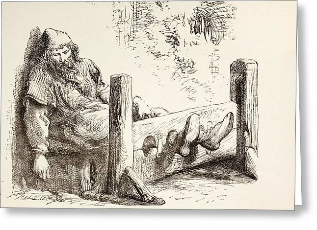 Town Square Drawings Greeting Cards - A Man In Stocks. From The Illustrated Greeting Card by Ken Welsh