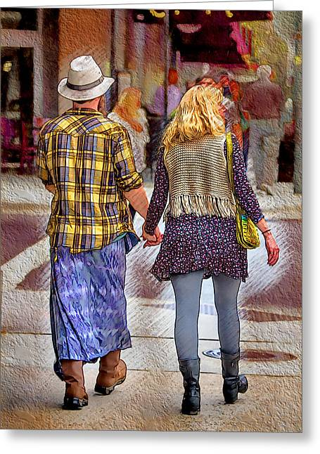 Love Asheville Greeting Cards - A Man Loves a Woman Greeting Card by John Haldane
