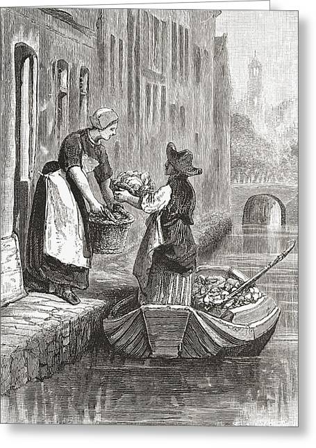 Canal Drawings Greeting Cards - A Man Selling Fresh Vegetables On A Greeting Card by Ken Welsh