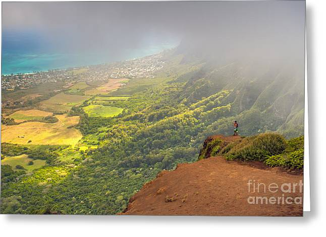 Trial Greeting Cards - A Man Standing On The Edge Of A Cliff Greeting Card by Michael Jones