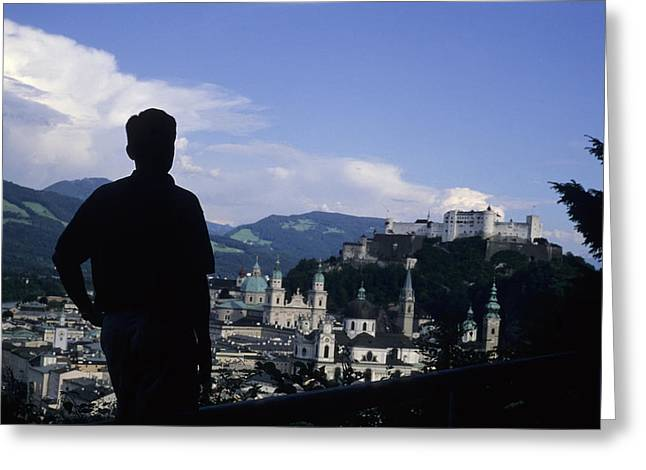 A Man Stands Admiring The Overlook Greeting Card by Taylor S. Kennedy
