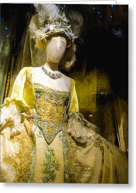 Lavish Dress Greeting Cards - A mannequin in a grand dress Greeting Card by Paul Bucknall