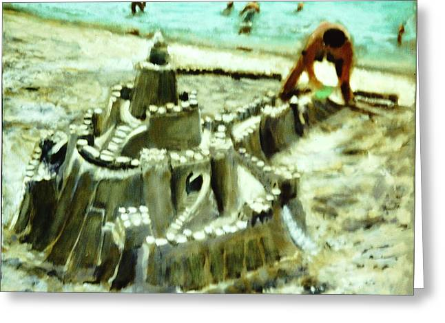 Sand Castles Greeting Cards - A Mans Home is His Castle Greeting Card by David Zimmerman