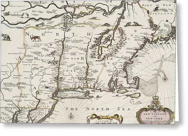 New England Ocean Greeting Cards - A map of New England and New York Greeting Card by John Speed