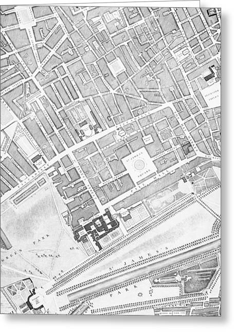 Old Town Drawings Greeting Cards - A Map of St James  London Greeting Card by John Rocque