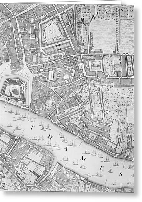 A Map Of The Tower Of London Greeting Card by John Rocque