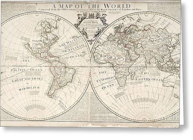 Engravings Greeting Cards - A Map of the World Greeting Card by John Senex