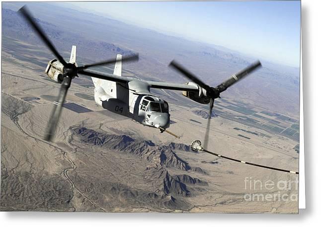 Mv Greeting Cards - A Marine Corps Mv-22 Osprey Prepares Greeting Card by Stocktrek Images
