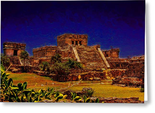 Civilization Greeting Cards - A Mayan Castle Greeting Card by John Bailey