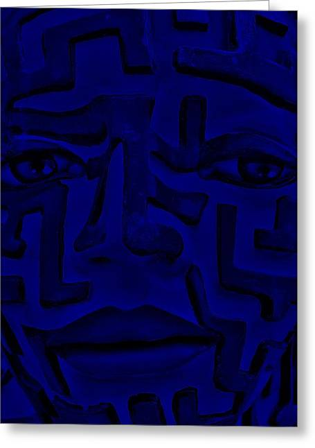 Person Sculptures Greeting Cards - A Mazing Blue Face Greeting Card by Rob Hans