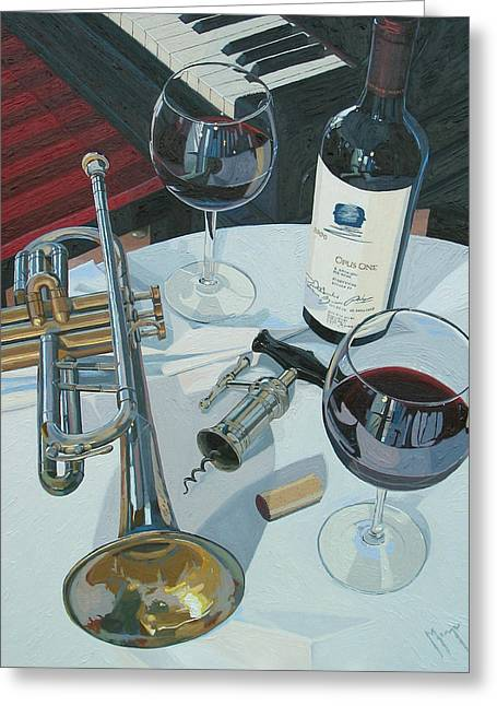 Wine Room Greeting Cards - A Measure of Opus Greeting Card by Christopher Mize