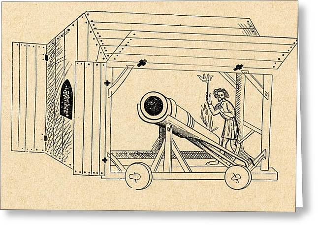 A Medieval Mobile Cannon Being Fired Greeting Card by Vintage Design Pics