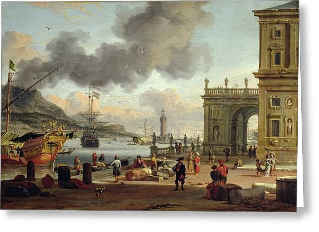 Unloading Greeting Cards - A Mediterranean Harbour Scene   Greeting Card by Abraham Storck