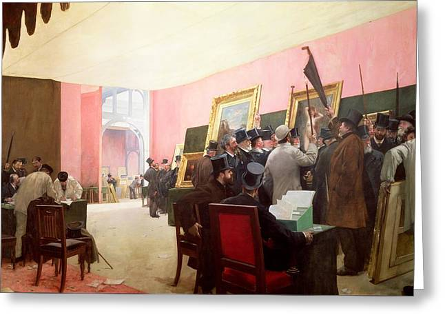 Jury Greeting Cards - A Meeting of the Judges of the Salon des Artistes Francais Greeting Card by Henri Gervex