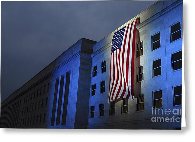 A Memorial Flag Is Illuminated On The Greeting Card by Stocktrek Images