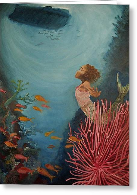 Sea Plants Greeting Cards - A Mermaids Journey Greeting Card by Amira Najah Whitfield