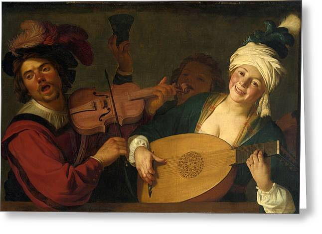 Lute Paintings Greeting Cards - A Merry Group behind a Balustrade with a Violin and a Lute Player Greeting Card by Gerrit van Honthorst