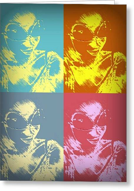 80s Mixed Media Greeting Cards - A Mid 80s Warhol Inspired Martian Greeting Card by Jessica Tolemy