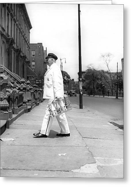 Food Delivery Greeting Cards - A Milkman Delivering Milk Greeting Card by Underwood Archives