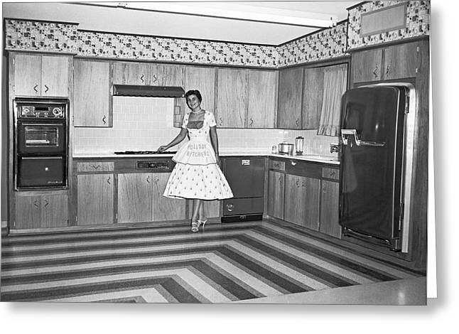 Home Appliance Greeting Cards - A Model Kitchen Display Greeting Card by Underwood Archives