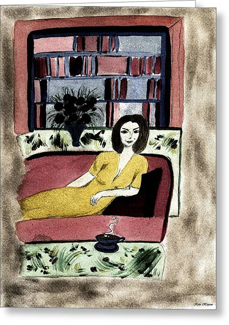 Lounge Paintings Greeting Cards - A Moment Alone Greeting Card by Kate Hopson