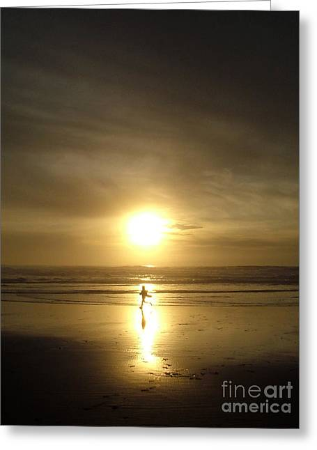 Surf Silhouette Greeting Cards - A moment in the sun Greeting Card by Nick Gustafson