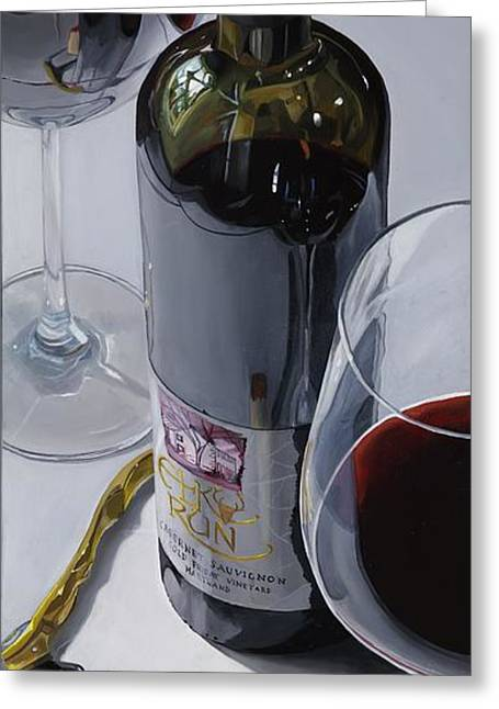 Red Wine Prints Greeting Cards - A Moment Of Reflection Greeting Card by Brien Cole
