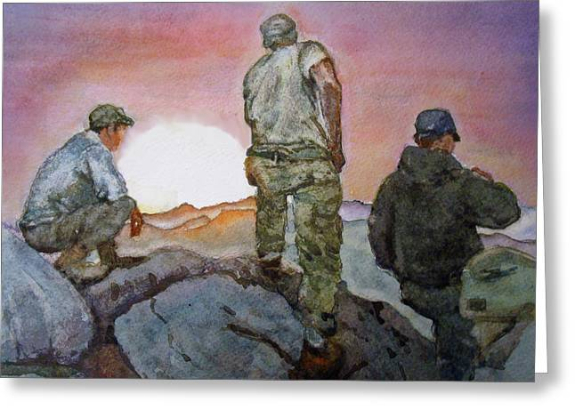 Military Hero Drawings Greeting Cards - A Moment to Breathe Greeting Card by Kerra Lindsey
