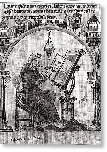 Desk Drawings Greeting Cards - A Monk At His Desk In A Scriptorium Greeting Card by Ken Welsh