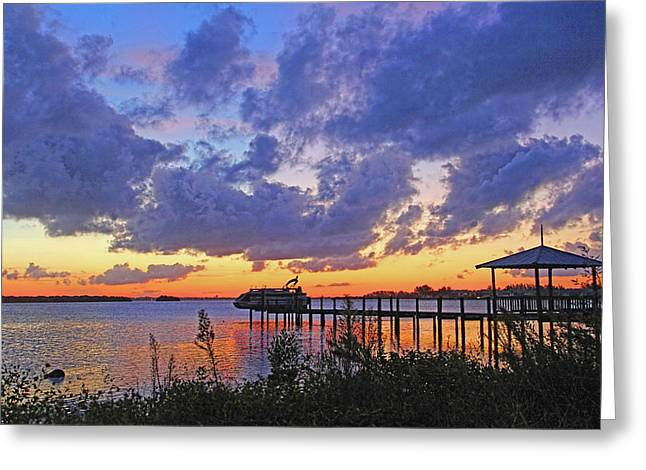 Docked Boats Greeting Cards - A Moody Morning by H H Photography of Florida Greeting Card by HH Photography of Florida