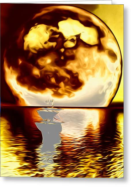 Eerie Greeting Cards - A Moon Possessed Greeting Card by Ron Fleishman