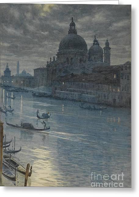 P.r Greeting Cards - A Moonlight Scene, Venice Greeting Card by Sir Edward John Poynter