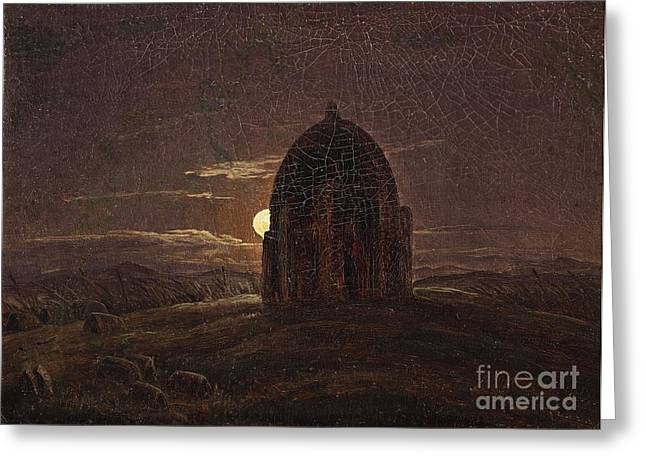 House With Gate Greeting Cards - A Moonlit Landscape with a Temple Greeting Card by MotionAge Designs