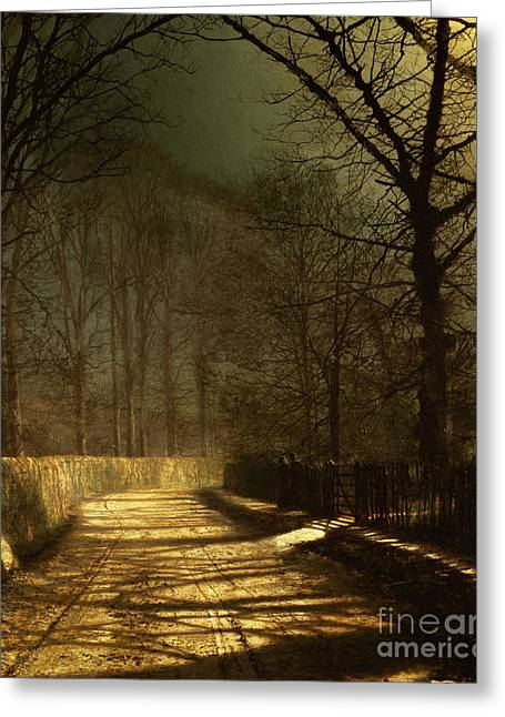 Grimshaw; John Atkinson (1836-93) Greeting Cards - A Moonlit Lane Greeting Card by John Atkinson Grimshaw