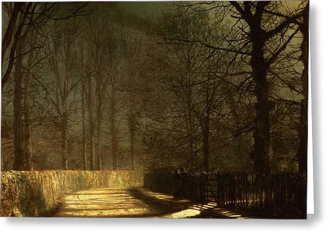 A Moonlit Lane Greeting Card by John Atkinson Grimshaw
