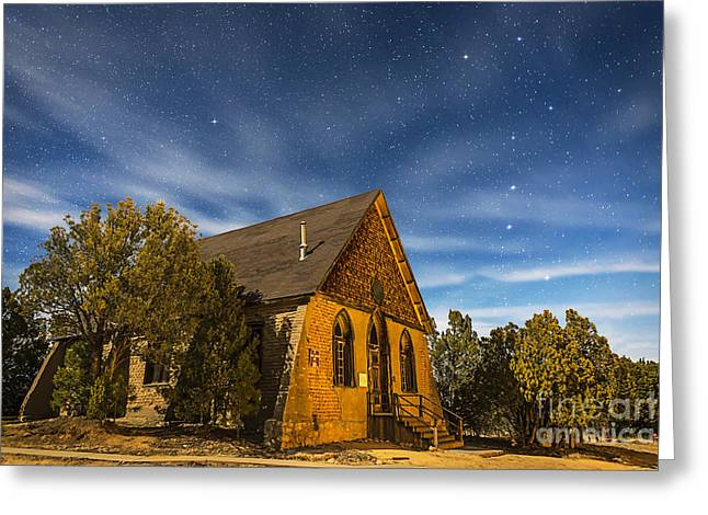 Silver City Greeting Cards - A Moonlit Nightscape Of The Historic Greeting Card by Alan Dyer