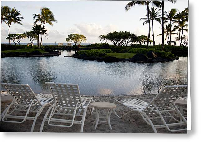 Table And Chairs Greeting Cards - A Morning in Kauai Hawaii Greeting Card by Susan Stone